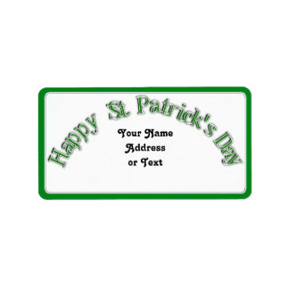 Happy St. Patricks Day Curved Text Image Personalized Address Label