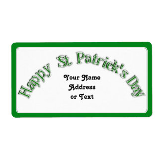 Happy St. Patricks Day Curved Text Image Label