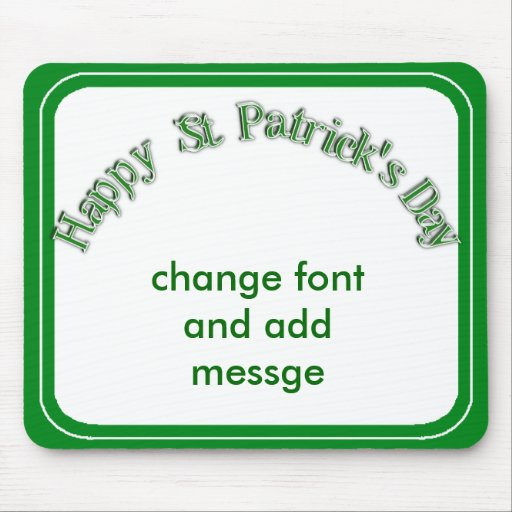 Happy St. Patricks Day Curved Text Image Mouse Pad
