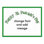 Happy St. Patricks Day Curved Text Image Postcards