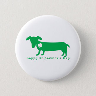 Happy St. Patrick's Day Dachshund Pinback Button
