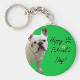 Happy St. Patrick's Day French Bulldog keychain