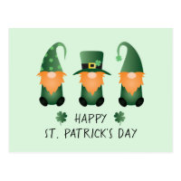 Happy St Patricks Day Gnomes Green Orange Postcard