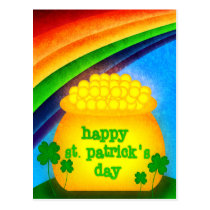 Happy St. Patrick's Day - Gold Postcard