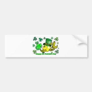 Happy St. Patrick's Day Goldfish Green Shamrocks Bumper Sticker