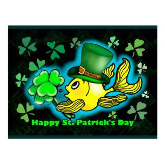 Happy St. Patrick's Day Goldfish Green Shamrocks Postcard