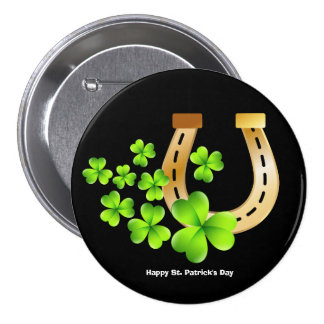 Happy St. Patrick's Day Good Luck Horse Shoe Pinback Button