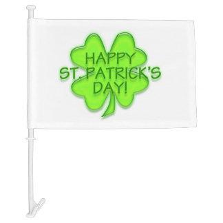 Happy St. Patrick's Day Green Four Leaf Clover Car Flag