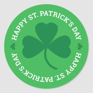 Happy St. Patrick's Day Green Shamrock Classic Round Sticker