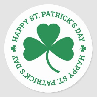 Happy St. Patrick's Day Green Shamrock Leaf Classic Round Sticker