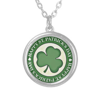 HAPPY ST PATRICKS DAY GREEN SHAMROCK ROUND LOGO SILVER PLATED NECKLACE