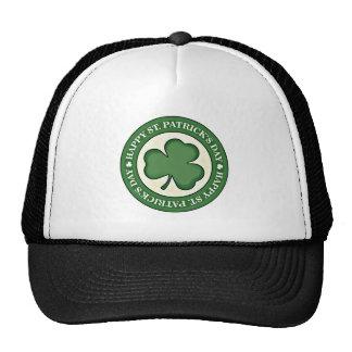 HAPPY ST PATRICKS DAY GREEN SHAMROCK ROUND LOGO TRUCKER HAT