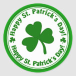 Happy St. Patrick's Day Green Shamrock Stickers