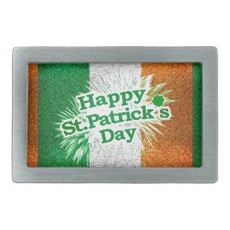 Happy St. Patricks Day Grunge Style Design Belt Buckle