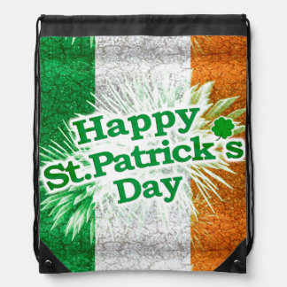 Happy St. Patricks Day Grunge Style Design Drawstring Bag