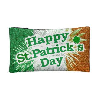 Happy St. Patricks Day Grunge Style Design Makeup Bag