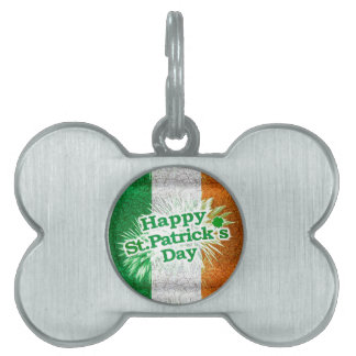 Happy St. Patricks Day Grunge Style Design Pet ID Tag