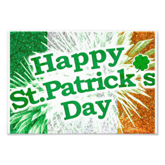 Happy St. Patricks Day Grunge Style Design Photo Print