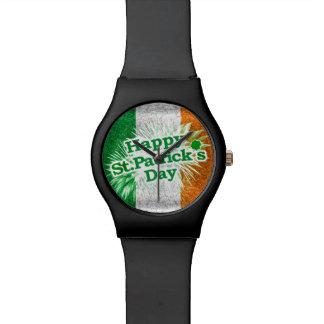 Happy St. Patricks Day Grunge Style Design Wrist Watches