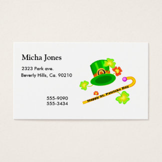 Happy St. Patrick's Day Hat & Cane Collage Business Card