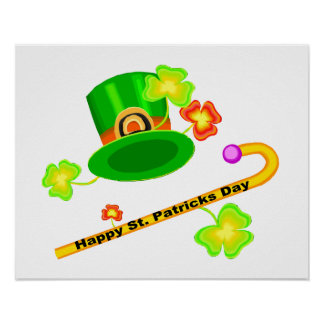 Happy St. Patrick's Day Hat & Cane Collage Poster