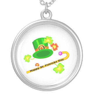 Happy St. Patrick's Day Hat & Cane Collage Silver Plated Necklace
