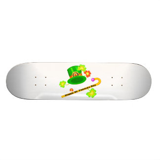Happy St. Patrick's Day Hat & Cane Collage Skateboard