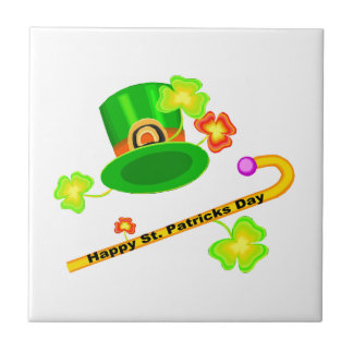 Happy St. Patrick's Day Hat & Cane Collage Tile