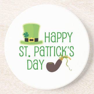 Happy St. Patrick's Day-Hat/Pipe Drink Coaster