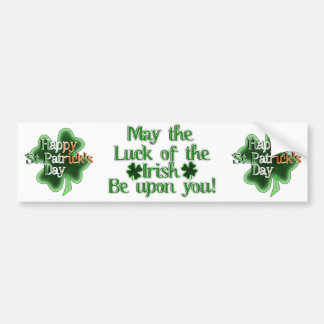 Happy St Patrick's Day (Irish Flag Color Text) Bumper Stickers