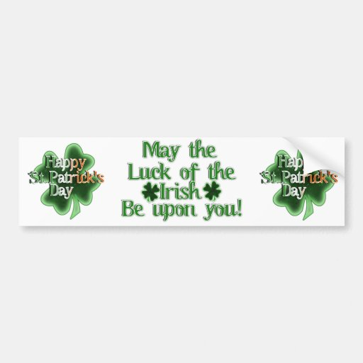 Happy St Patrick's Day (Irish Flag Color Text) Bumper Sticker
