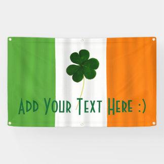 Happy St. Patrick's Day Irish Flag Shamrock Banner