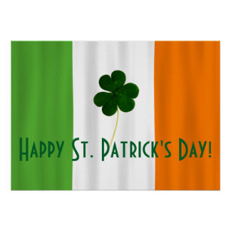 Happy St. Patrick's Day Irish Flag Shamrock Paddy Poster