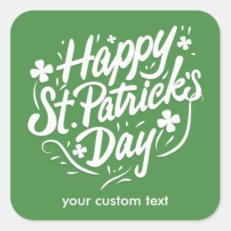 Happy St Patricks Day Irish Green Shamrock Custom Square Sticker