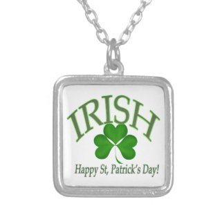 Happy St' Patrick's Day Irish Lucky Clover Gifts Silver Plated Necklace