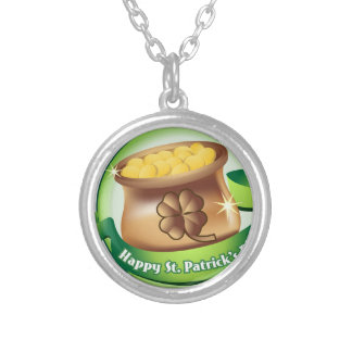 Happy St Patrick's day, Irish Saint Hat Holiday Silver Plated Necklace