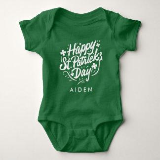 Happy St Patricks Day Irish Shamrock Personalized Baby Bodysuit