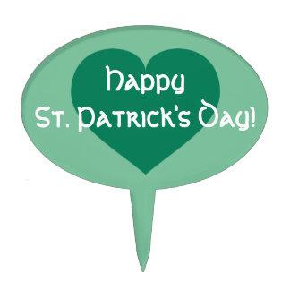 Happy St. Patrick's Day kelly green heart Cake Topper
