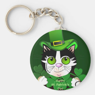 Happy St Patricks Day keychain with green eyed cat