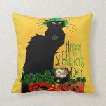 Happy St Patrick's Day - Le Chat Noir Pillows