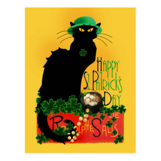 Happy St Patrick's Day - Le Chat Noir Postcard