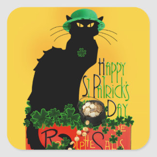 Happy St Patrick's Day - Le Chat Noir Square Sticker