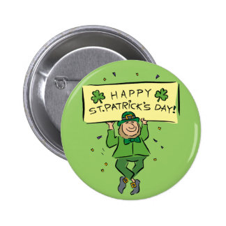 Happy St. Patrick's Day Leprechaun Button