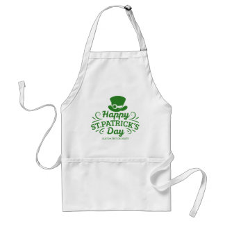 Happy St Patricks Day Leprechaun Hat Custom Text Adult Apron