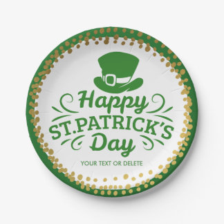 Happy St Patrick's Day Leprechaun Hat Custom Text Paper Plate