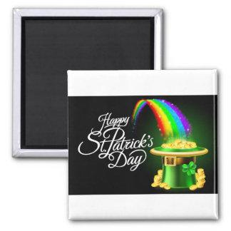 Happy St Patricks Day Leprechaun Hat Rainbow Sign Magnet