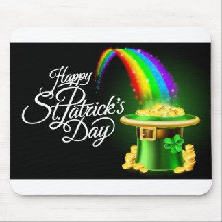 Happy St Patricks Day Leprechaun Hat Rainbow Sign Mouse Pad