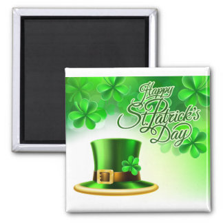 Happy St Patricks Day Leprechaun Hat Shamrock Sign Magnet
