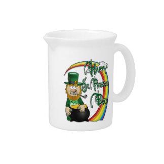 Happy St Patricks Day Leprechaun Beverage Pitcher