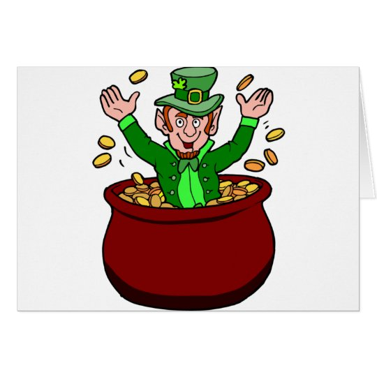 Happy St Patricks Day Leprechaun Pot Of Gold Coins Card